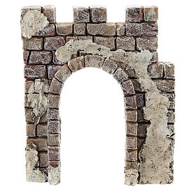 Nativity scene setting, wall with archway Moranduzzo in resin for 4 cm statues s1