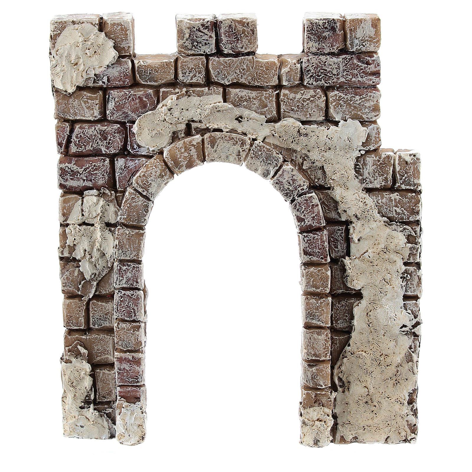 Pared con entrada de arco Moranduzzo para belén de 4 cm 4