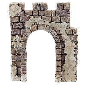 Pared con entrada de arco Moranduzzo para belén de 4 cm s1