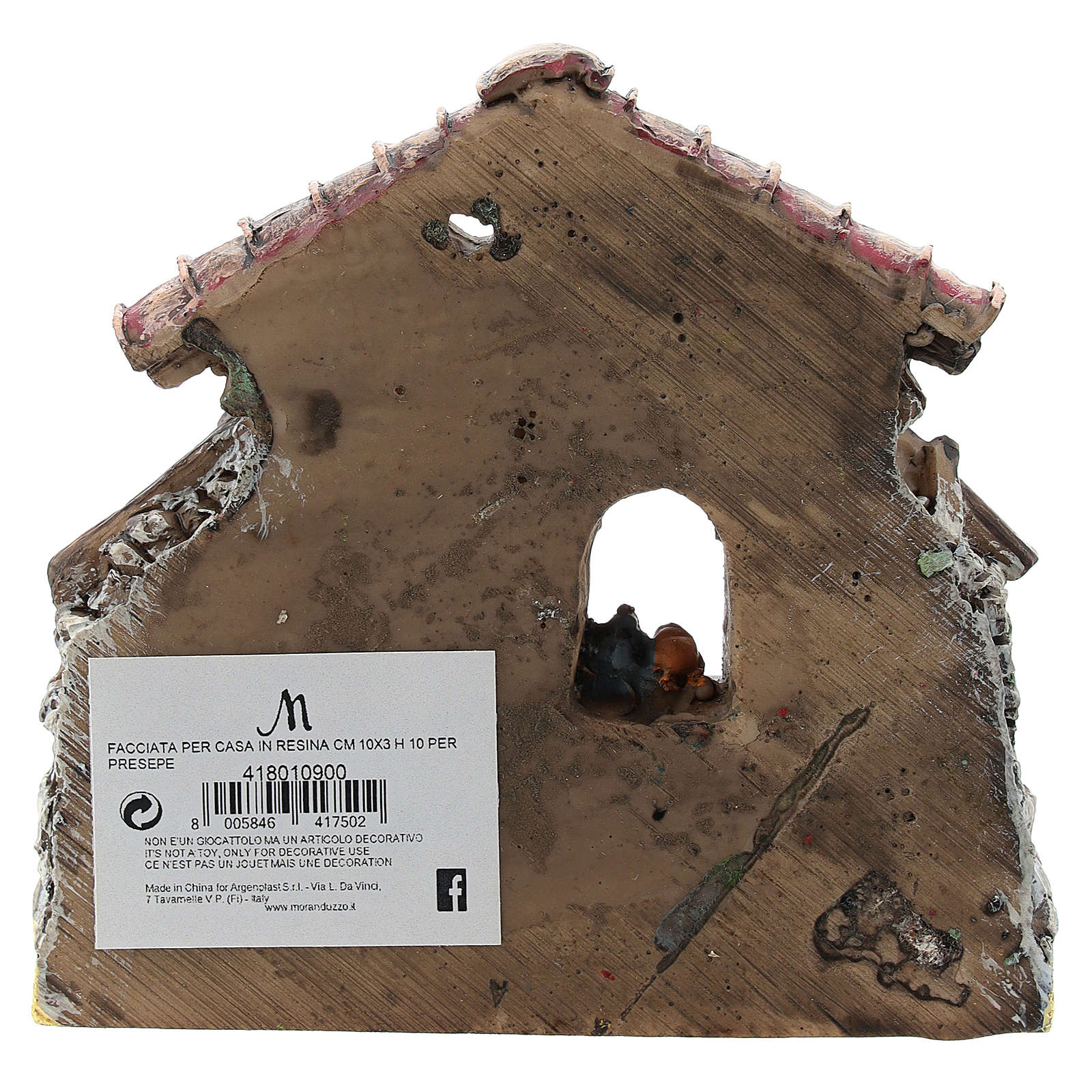 Nativity scene setting, house fornt ruin Moranduzzo in resin for 4-6 cm statues 4