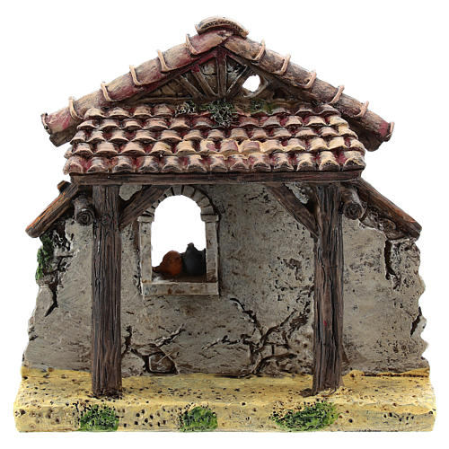 Nativity scene setting, house fornt ruin Moranduzzo in resin for 4-6 cm statues 1