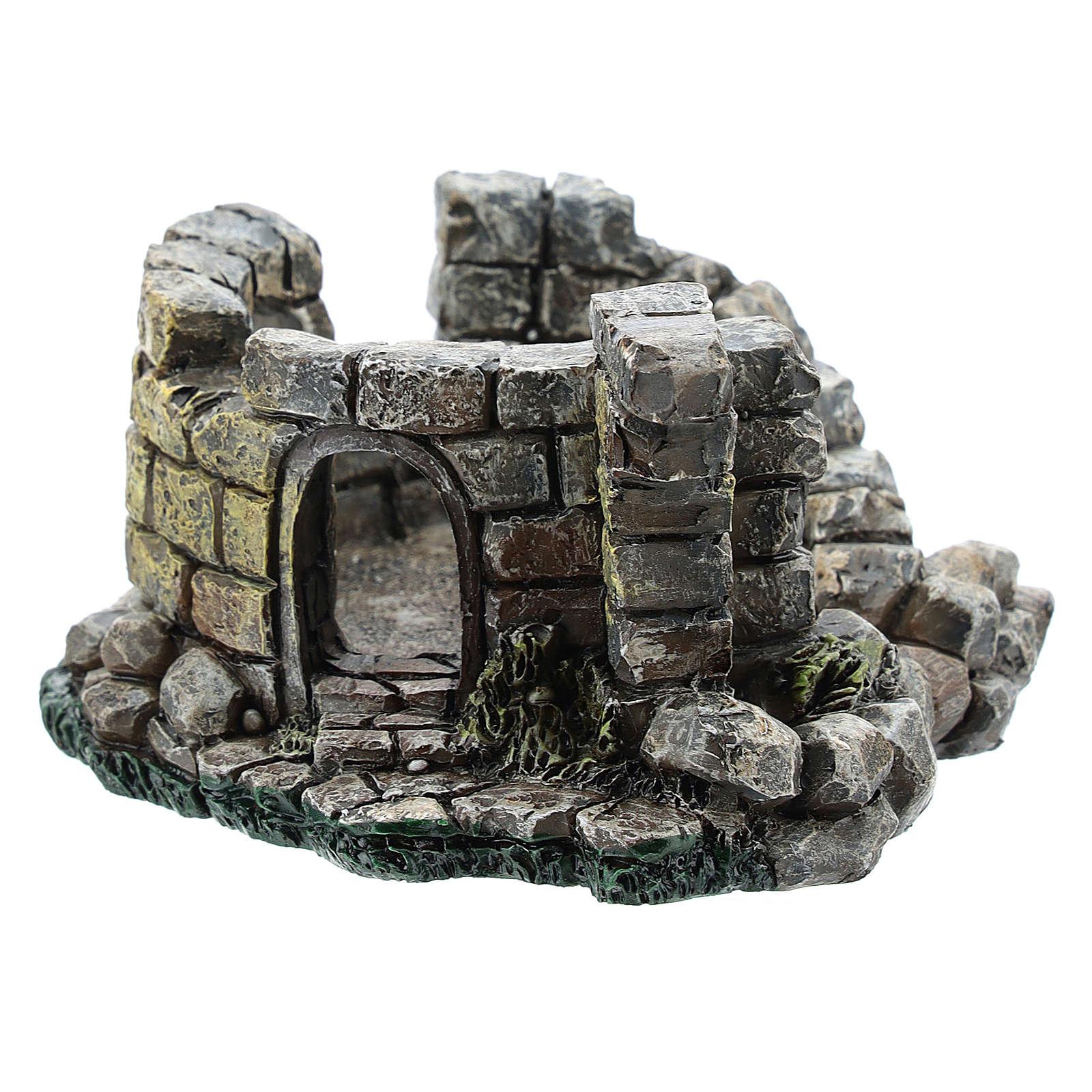Nativity scene setting, castle ruins Moranduzzo in resin for 4-6 cm statues 4