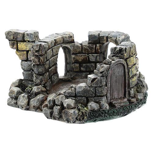 Nativity scene setting, castle ruins Moranduzzo in resin for 4-6 cm statues 2