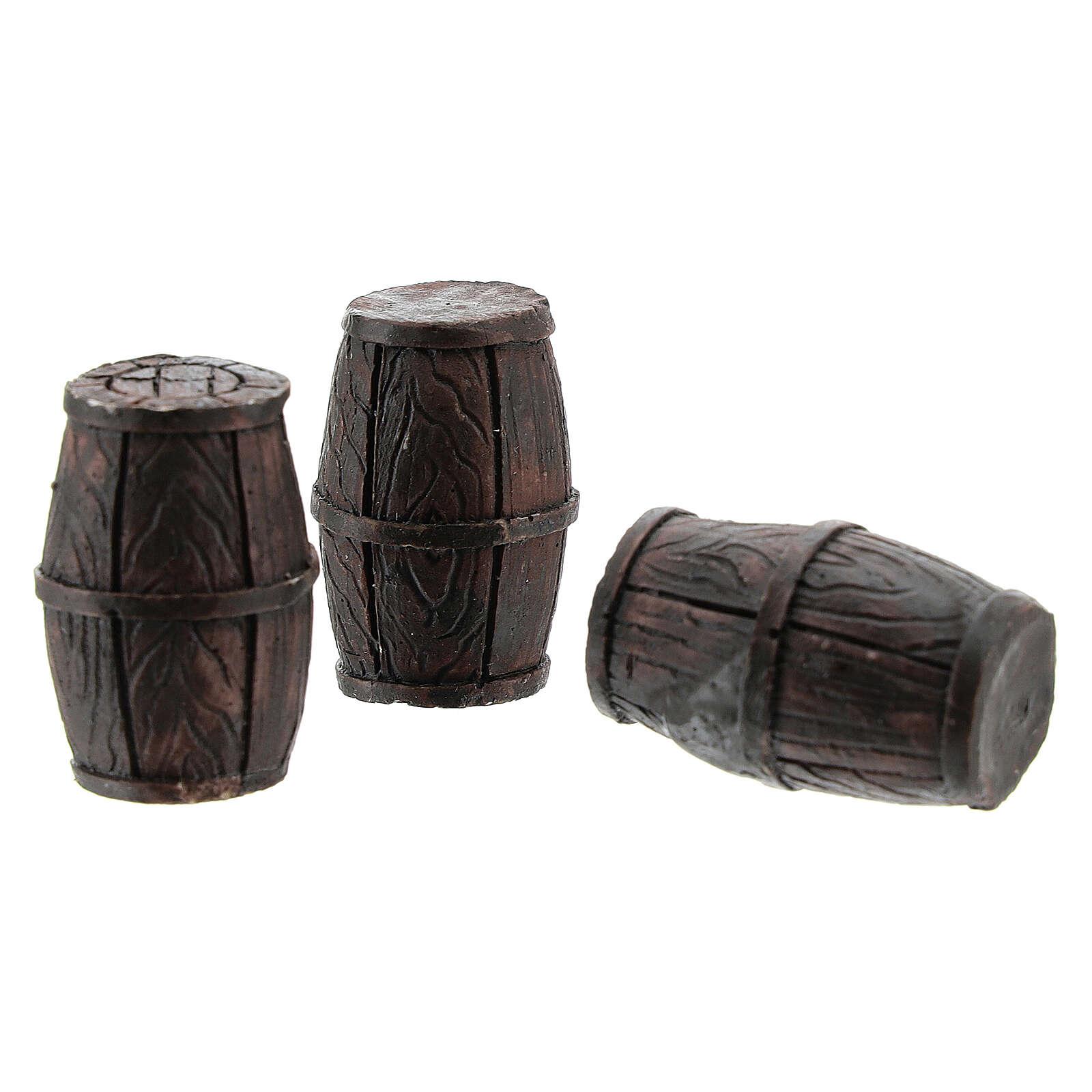 Set 3 barriles 3x2 cm para belenes de 8 cm 4
