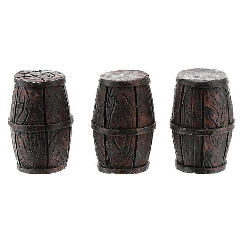 Set 3 barriles 3x2 cm para belenes de 8 cm 1