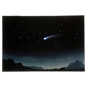 Toile de fond nuit étoilée et comète éclairée 40x60 cm s1