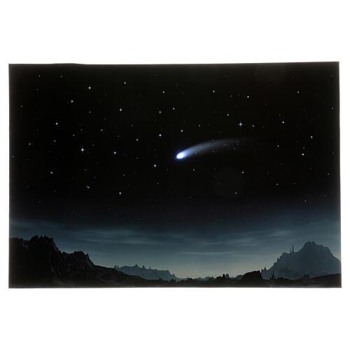 Toile de fond nuit étoilée et comète éclairée 40x60 cm 1