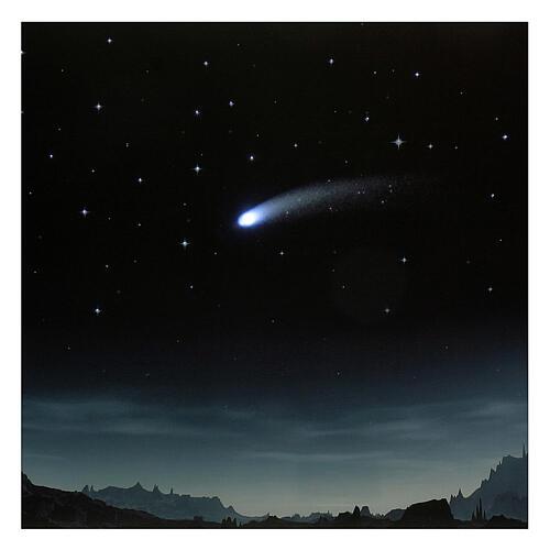 Toile de fond nuit étoilée et comète éclairée 40x60 cm 2