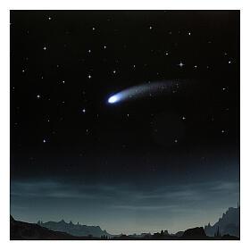 Tło noc rozgwieżdżona i kometa podświetlane 40x60 cm s2