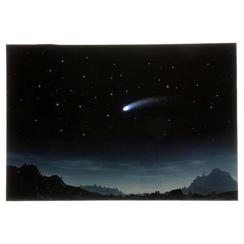 Starry night backdrop with illuminated comet, 40x60 cm 1