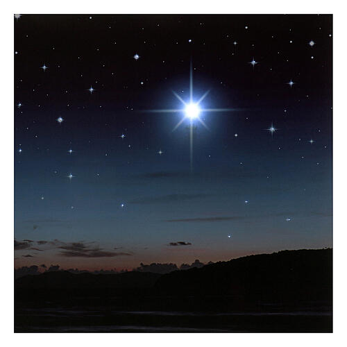 Fondo iluminado montañas y estrella polar 40x60 cm 2