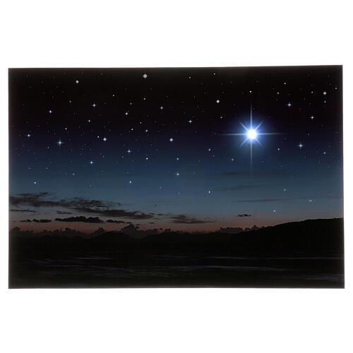 Illuminated backdrop mountains and pole star, 40x60 cm 1
