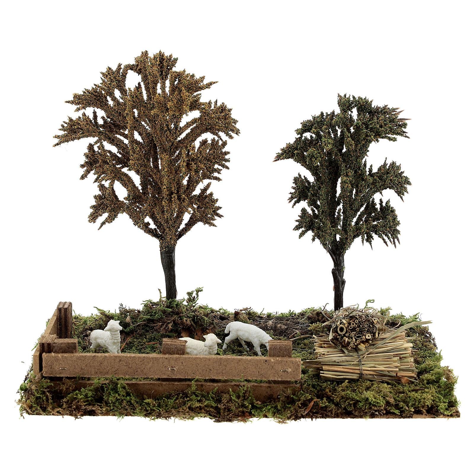 Miniature grove with sheep, 8-10 cm nativity 25x20x15 cm 4