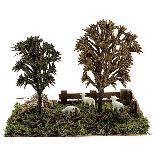 Miniature grove with sheep, 8-10 cm nativity 25x20x15 cm 1