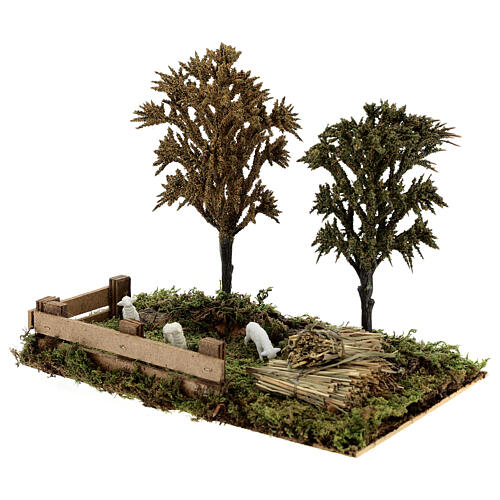 Miniature grove with sheep, 8-10 cm nativity 25x20x15 cm 2
