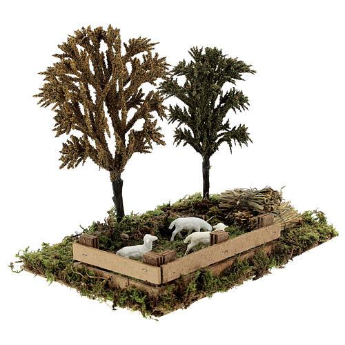 Miniature grove with sheep, 8-10 cm nativity 25x20x15 cm 3