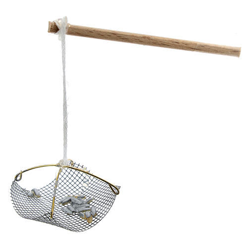Balanza pescador con peces para belén 8-10 cm 2