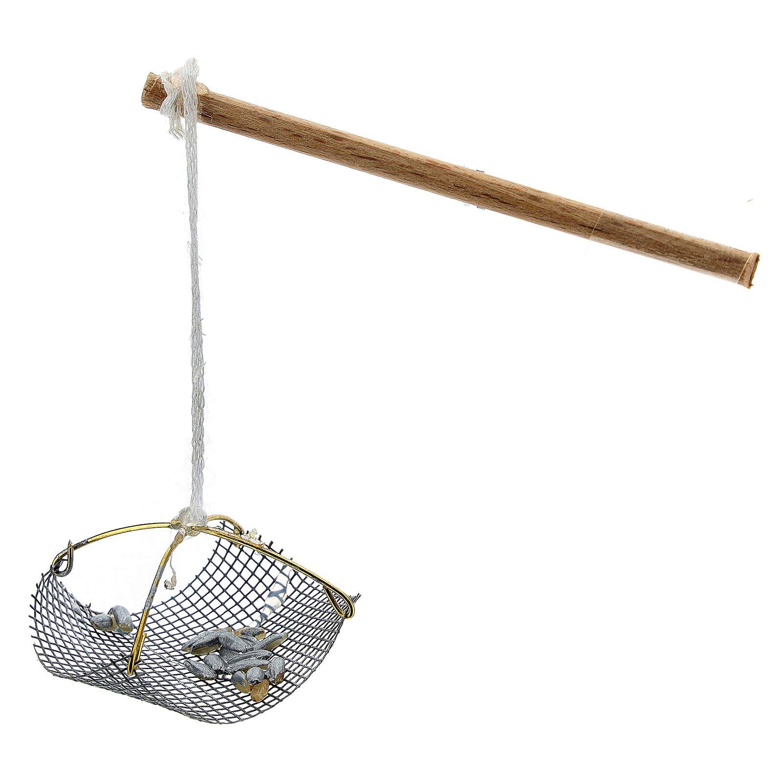 Balance pêcheur avec poissons pour crèche 8-10 cm 4