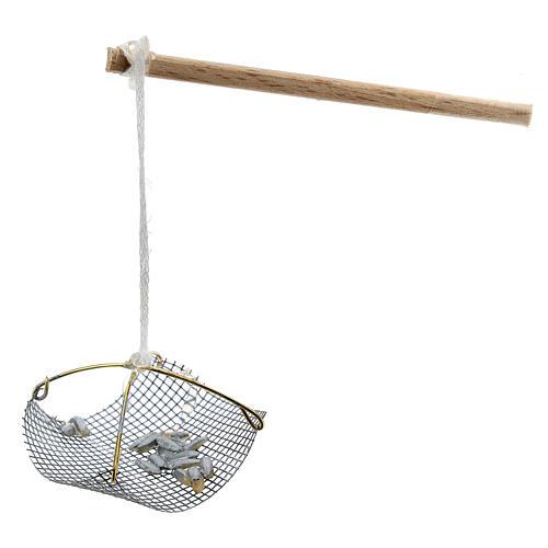 Balance pêcheur avec poissons pour crèche 8-10 cm 2