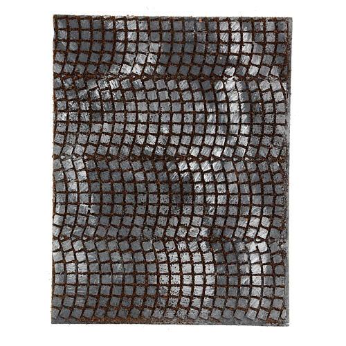 Pavimento sanpietrini grigi pannello sughero presepe 35x25x1 cm 1
