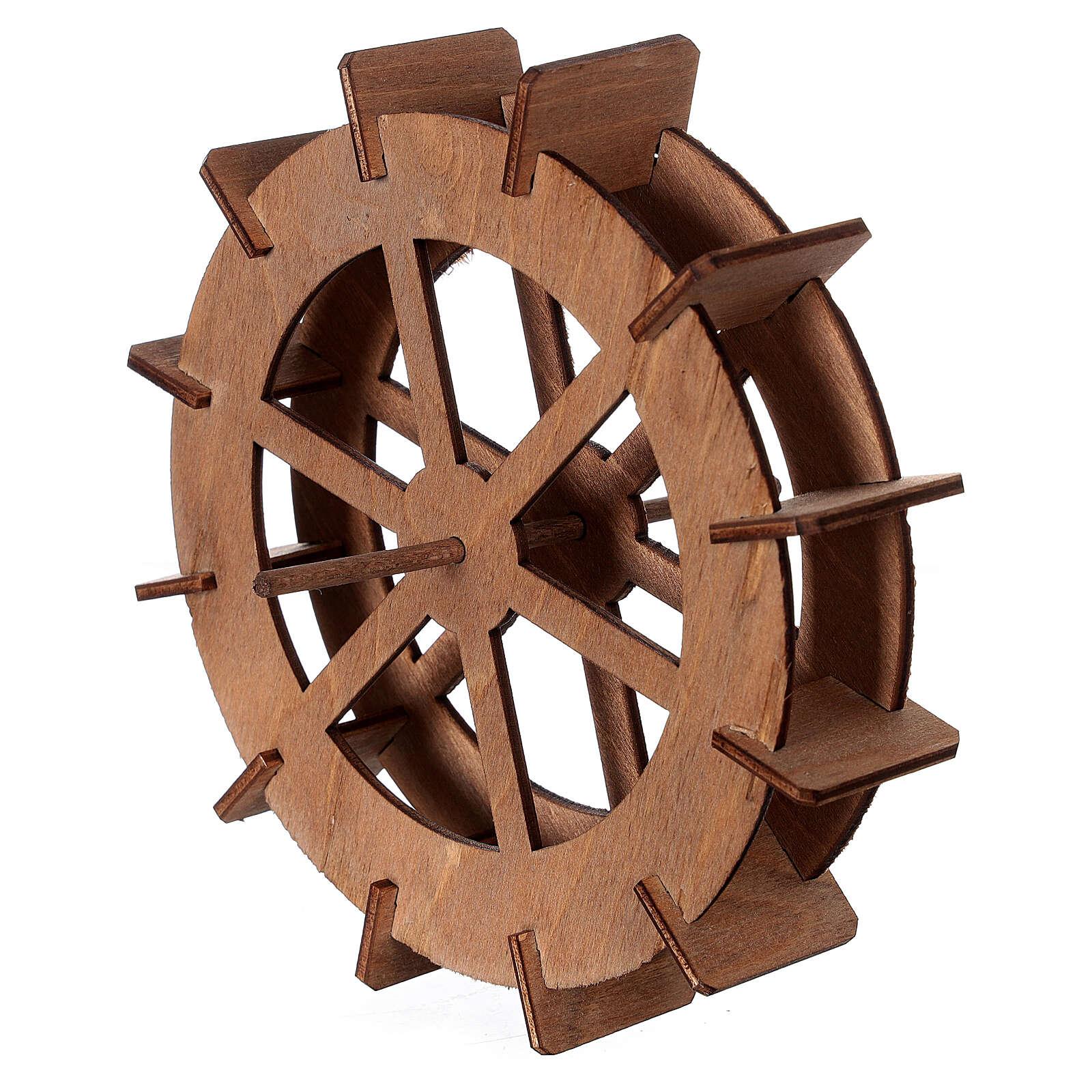 Miniature mill wheel in wood 15 cm diameter 4