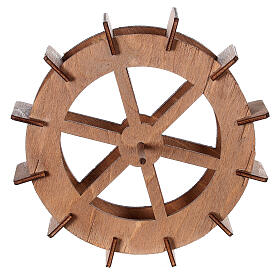 Miniature mill wheel in wood 15 cm diameter s1