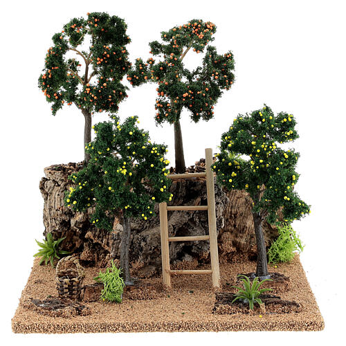 Citrus grove for Nativity scene 19x15x19 cm: setting with fruit trees 1