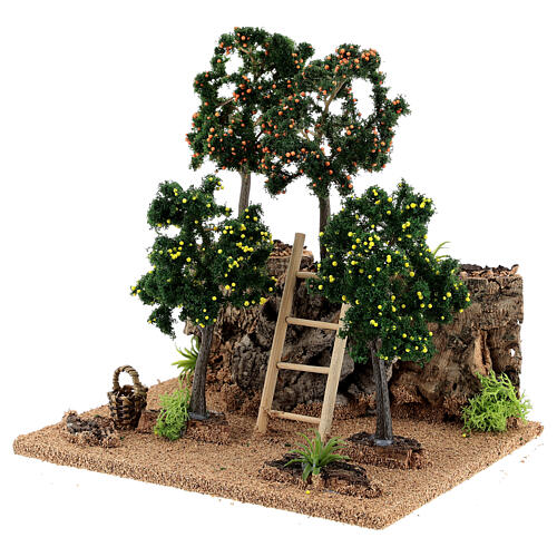 Citrus grove for Nativity scene 19x15x19 cm: setting with fruit trees 2