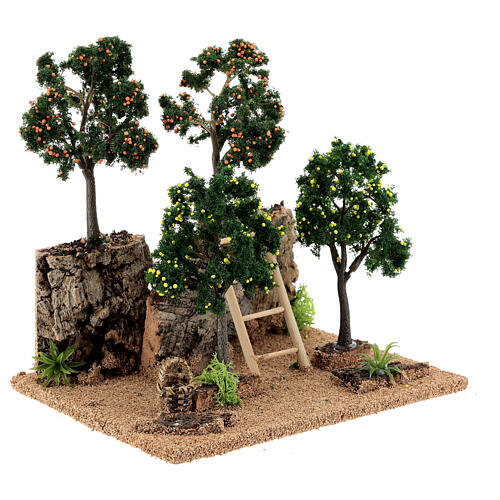 Citrus grove for Nativity scene 19x15x19 cm: setting with fruit trees 3