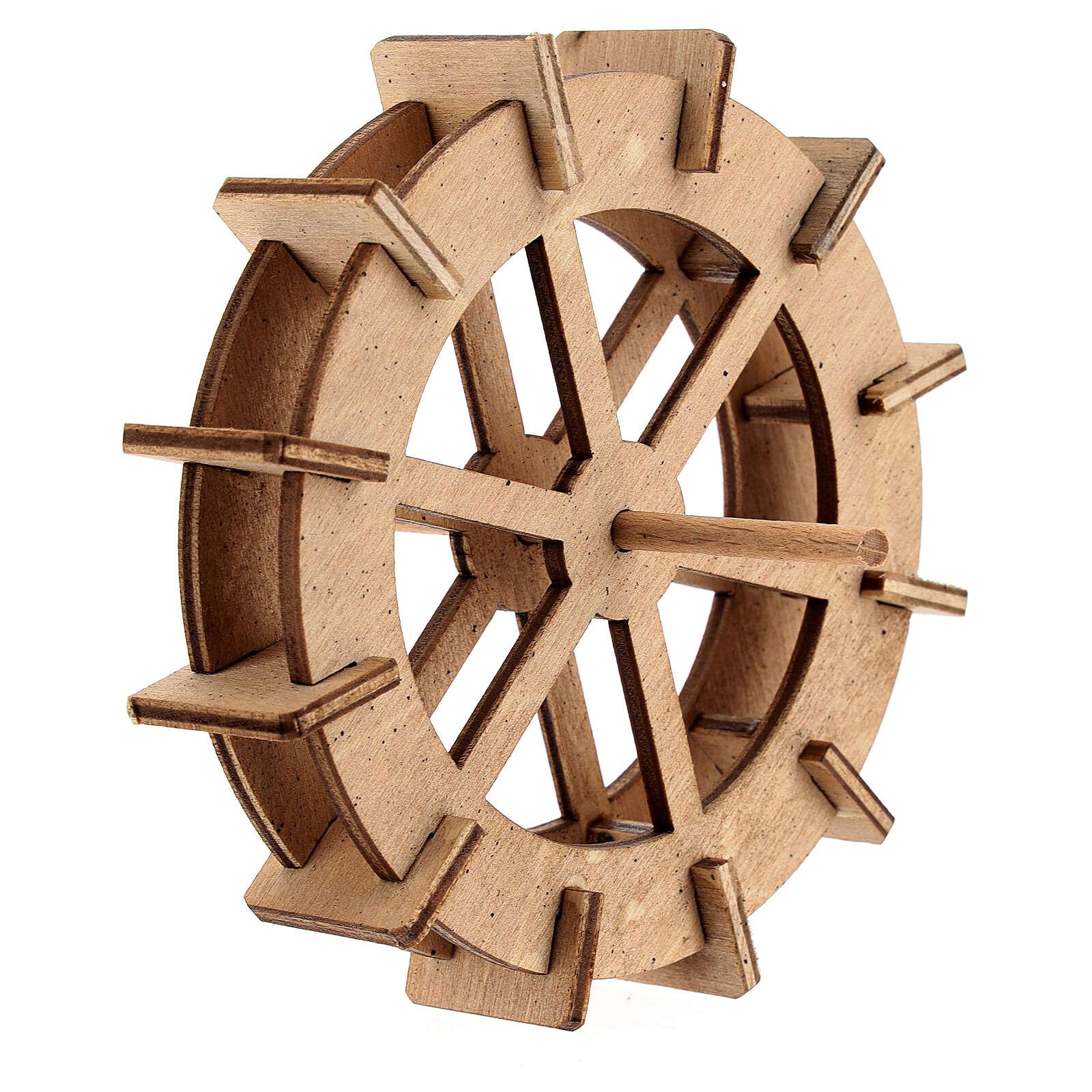 Water mill wheel in wood 10 cm 4