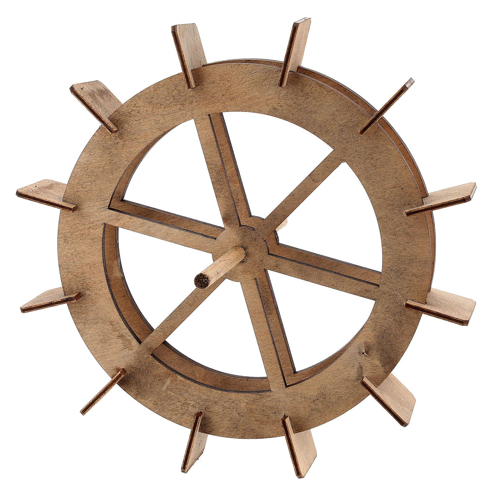 Rueda de madera para molino del belén 20 cm 4