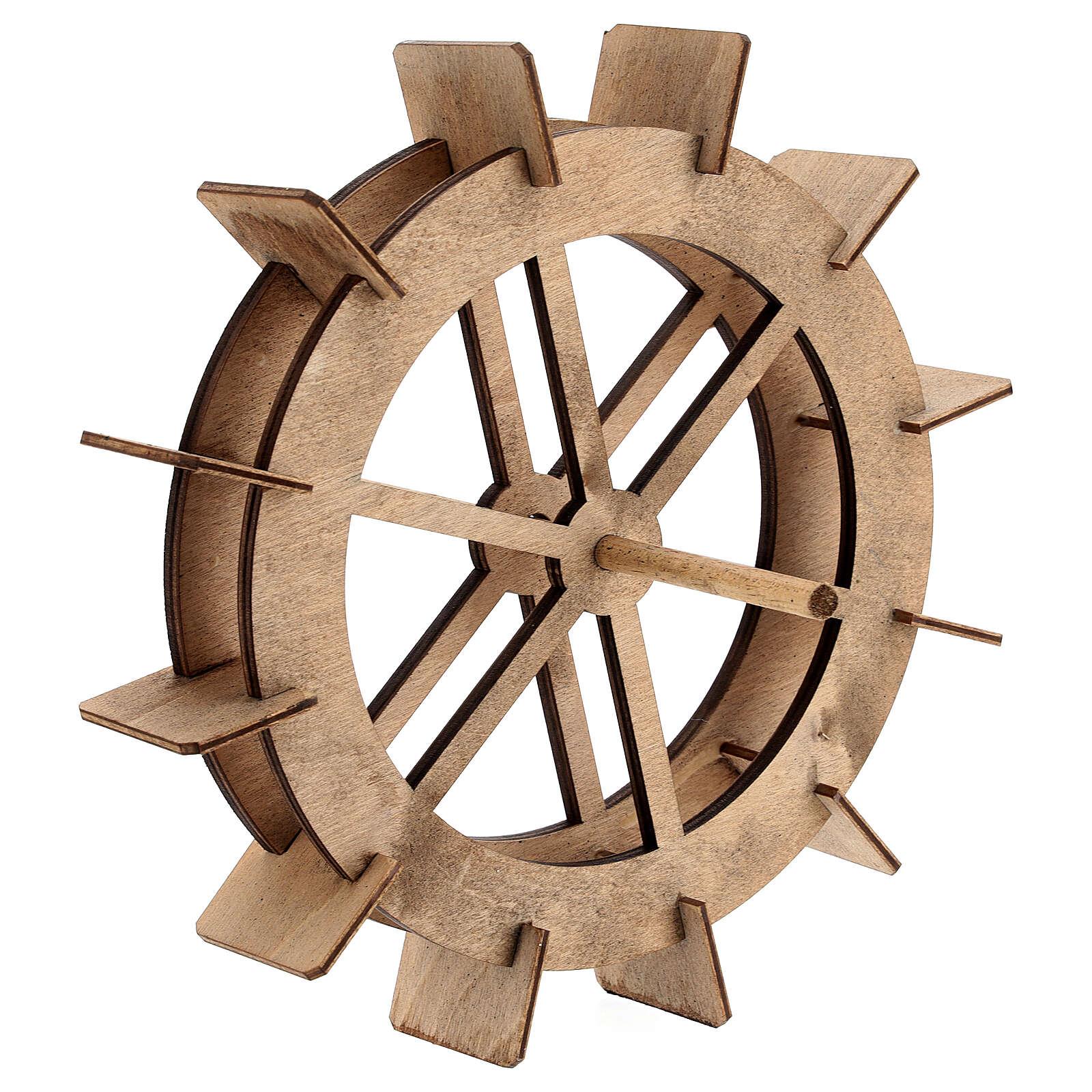 Roda para moinho de água miniatura madeira 20 cm 4