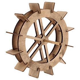 Roda para moinho de água miniatura madeira 20 cm s3