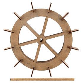 Roda para moinho de água miniatura madeira 20 cm s5