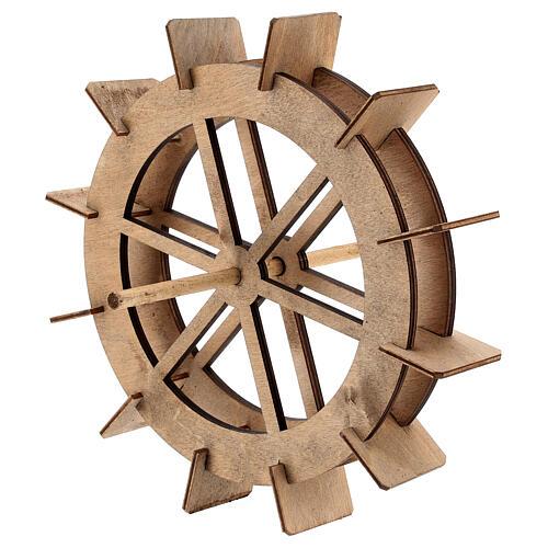 Roda para moinho de água miniatura madeira 20 cm 2