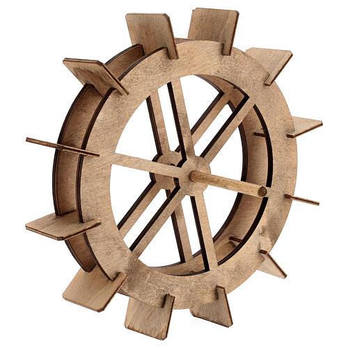Roda para moinho de água miniatura madeira 20 cm 3