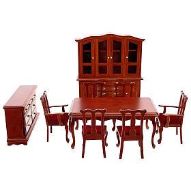 Mobiliário sala de jantar 9 peças para presépio com figuras altura média 12-14 cm s1