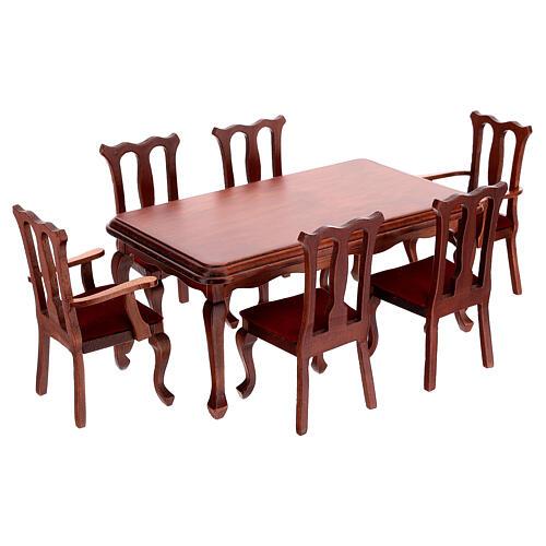Mobiliário sala de jantar 9 peças para presépio com figuras altura média 12-14 cm 4