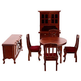 Set meubles bois salle à manger crèche 12 cm s1