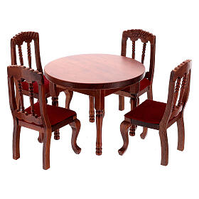 Set mobili legno sala 7 pezzi presepe 12 cm s4