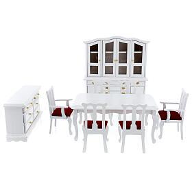 Mobili legno bianco 9 pezzi presepe 12-14 cm s1