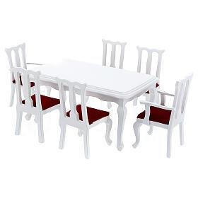 Mobili legno bianco 9 pezzi presepe 12-14 cm s4