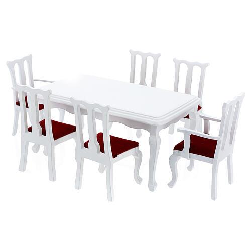 Mobili legno bianco 9 pezzi presepe 12-14 cm 4