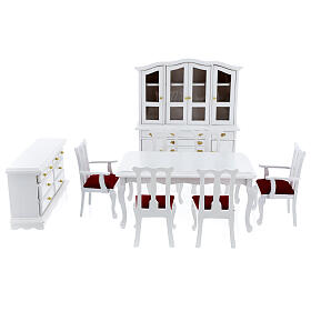 White wood furniture 9 items for Nativity Scene with 12-14 cm figurines s1