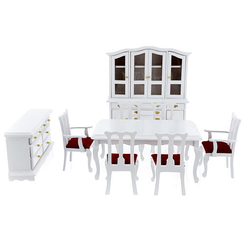 White wood furniture 9 items for Nativity Scene with 12-14 cm figurines 1