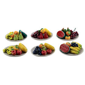 Set 6 plates with mixed fruit Nativity scene 8-10 cm s1