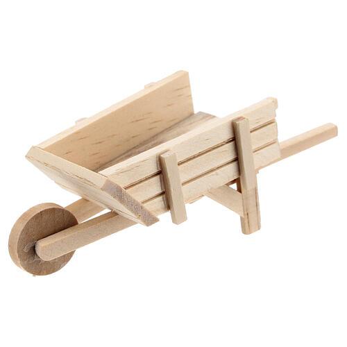 Carriola legno chiaro presepe 10 cm 4