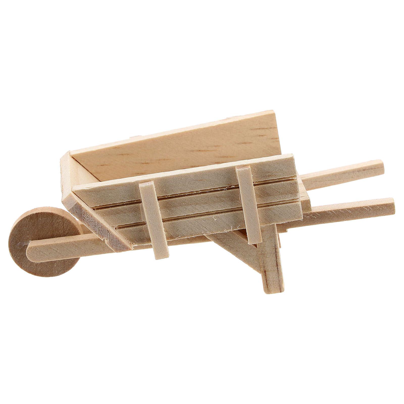 Carrinho de mão madeira clara para presépio com figuras altura média 10 cm 4