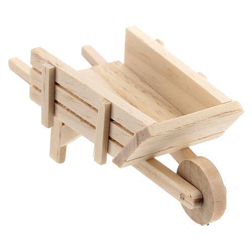 Carrinho de mão madeira clara para presépio com figuras altura média 10 cm 2
