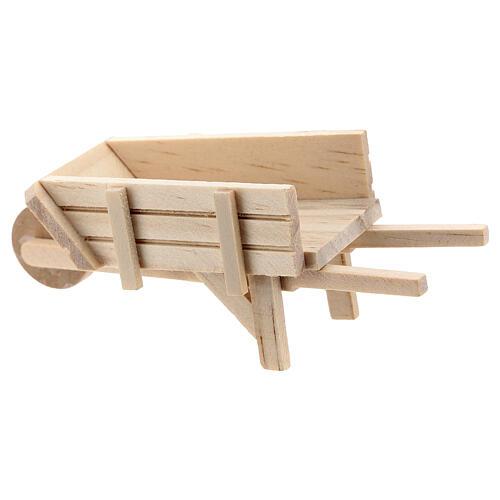 Carrinho de mão madeira clara para presépio com figuras altura média 10 cm 3